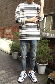 Grey Stripe Unbalance MTM<BR>�����÷��� ��Ʈ������ ����<BR>�յڰ� �ٸ������� ������