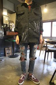 Black Vintage Painting Jacket<br>�?�÷��� ��ư����<br>������ ���� �� ��Ƽ�� ������ ������