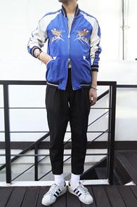 Blue Basic Sukajyan Jacket<br>����÷��� ȭ��Ʈ ����÷�<br>���������� ij����� ��ī������