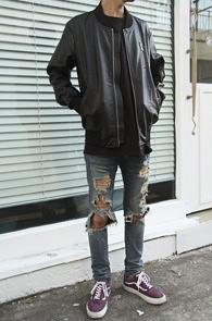Black Fake Leather MA-1 Jacket<br>�?�÷�, ����ũ���� ����<br>������ �������� ����ũ���� �װ�����
