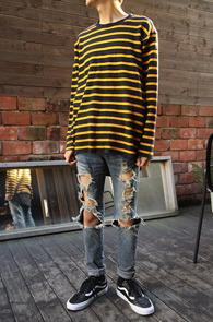 Basic 2 Color Stripe T-Shirts<br>�ΰ��� �÷��� ��<br>�������� ������ ��Ʈ������ Ƽ����