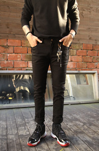 Basic Black Slim Cotton Pants<br>�?�÷�, ��ư����<br>�������� ������ ������ �?��