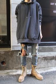 Charcoal Over Fit Kanye Hood T-Shirts<br>�����÷��� �ڽ��� �Ͱ�<br>���̵�Ʈ�� �������� �����̴� �ĵ�