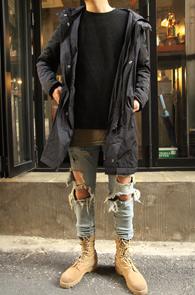Black Padding Long Hood Jacket<br>�?�÷��� 3�½��� �β���<br>���� ���尨�� �ĵ� ���е�