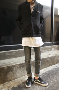 Black Wool China Collar Stadium Jacket<br>�?�÷��� ���� ����<br>���̳� ī�� �������� ��Ÿ���