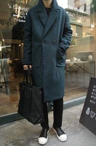 Bluish Green Over Fit Wool Coat<Br>û���÷��� ��ȥ�����<bR>�̴ϸָ����� �������� ������ ��Ʈ