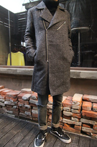 Grey Wool Rider Long Coat<br>�׷����÷�, �����<br>������ ���۵� �� ���̴� ��Ʈ