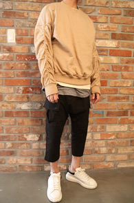 Beige Twill Sweat Shirts <br>Ʈ�� ��&#50939; ����<br>��ư ����,��Ʈ�� ���尨