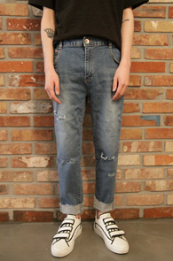 Half Banding Baggy Denim Pants<Br>�� ��� ������<br>���̵� �÷����� ��� ����