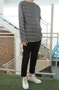 Long Sleeve Stripe T-shirts Navy<br>�⺻ 10�� �ܰ��� Ƽ����<br>�������� �Ƿ翧,�⺻ 4���� ������