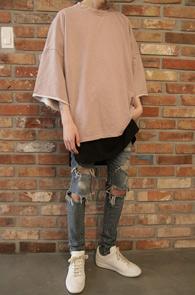 2 Color Pigment Half T-Shirts<br>�DZ�Ʈ ���,�������� ó��<br>�ڽ��� �Ͱ��� �DZ�Ʈ Ƽ����