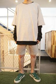 2 Color Box Fit Stripe T-Shirts<br>�?�� ���� �ΰ��� �÷��� ��<br>�ڽ��� �Ͱ��� ��Ʈ������ Ƽ����