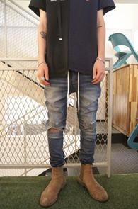 Blue Denim Banding Zipper Pants<Br>��û���� ���Լ���<br>����� �ش��� ���۵�����