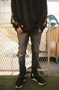 Black Denim Banding Zipper Pants<br>��û���� ���Լ���<br>����� �ش��� ���۵�����