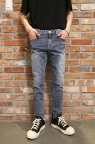 Blue Painting Repair Pants<br>슬림핏 페인팅 디테일<br>밑단 컷팅,신축성 우수