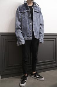 Fear Vintage Blue Denim Jacket<Br>������� �ڽ��� �Ͱ�<br>��Ƽ���� ������ ���� ����