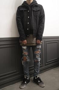 Fear Vintage Black Denim Jacket<br>�?���� �ڽ��� �Ͱ�<br>��Ƽ���� ������ ���� ����