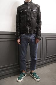 Black Single Leather JK<br>블랙 레더 싱글 라이더<br>쉽스킨,기본 타입의 싱글 라이더