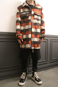 Orange Wool Check Shirts Jacket<br>체크패턴, 울소재<br>아우터형식으로 착용가능한 셔츠