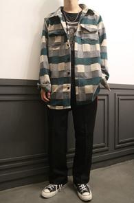 Green Wool Check Shirts Jacket<br>체크패턴, 울소재<br>아우터형식으로 착용가능한 셔츠