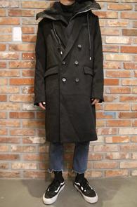 Black Double Hood Coat<br>블랙컬러의 울소재<br>레이어드용 탈부착 가능한 후드