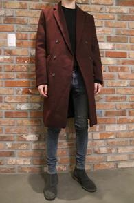Two Color Twill Double Coat<br>블랙과 와인 두가지 컬러<br>심플한 디자인의 기본 더블코트