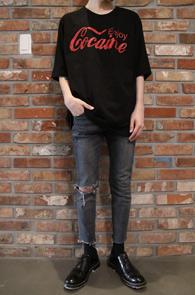2 Color Cocaine T-Shirts<Br>레드와 블랙 두가지 컬러<br>코카콜라 패러디 디자인의 티셔츠