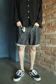 Indigo Denim Half Pants<br>생지데님 소재, 베이직한 디자인<br>깔끔한 디자인의 하프데님팬츠
