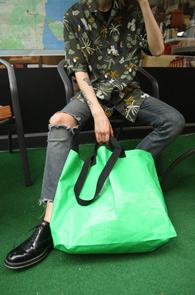 Green Recycle Market Bag<br>그린컬러, 리사이클 원단<br>유니크한 소재감의 마켓백