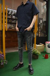 Indigo Linnen Half Shirts<br>인디고 블루 컬러, 린넨소재<br>깔끔한 디자인의 하프셔츠