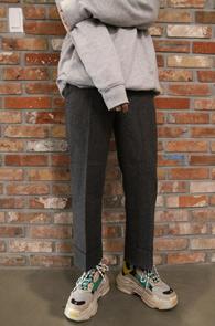 Wool Check Turnup Crop Slacks Pants<Br>울소재, 체크패턴<br>두꺼운 소재감의 크롭 카브라 슬랙스